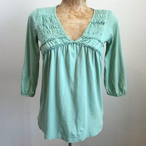 Vtg Anthropologie V Neck Top Sz S Smocking 3/4 Slv